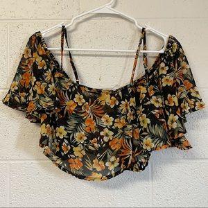 Floral Windsor crop top with open shoulder